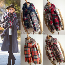 WJ20 New 2014 Winter Women Tartan Scarf Pashmina Scarves Oversized Tippet Plaid Fringed Blanket Coat Free Shipping