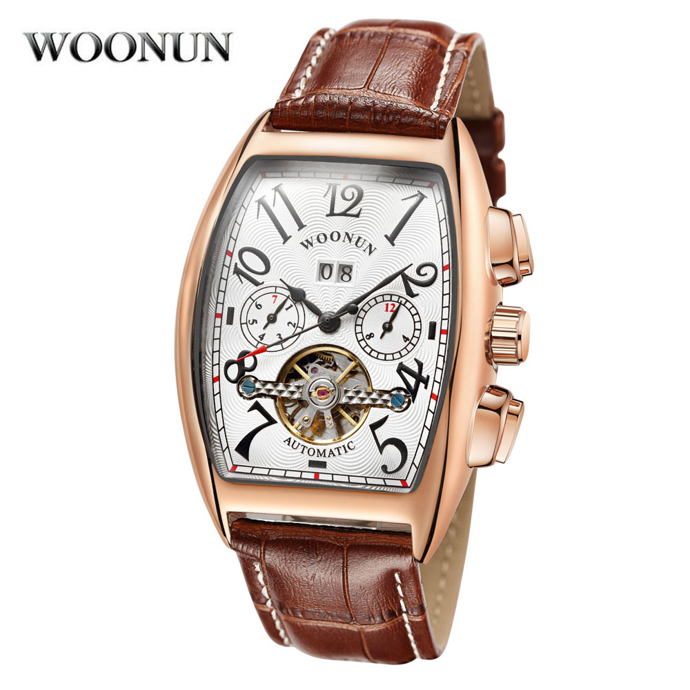 WOONUN Tonneau Tourbillon Automatic Mechanical Watch for Men Simple Leather Band Mens Watches Wristwatch Business Mans Clock<br>