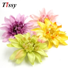 5PCS 4.2inch(10.5cm) Colorful Big Size Artificial Silk Corsage Headdress Chrysanthemum Flower Heads DIY Wedding Home Decoration(China)