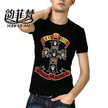 100% Cotton Tee Print Shirts Guns N Roses Led Zeppelin The Beatles T Shirt Men 3D Black Friday Short Sleeve Hip Hop Tshirt Homme