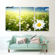 3 Panel Field of Daisy Natural Flower Canvas Print Painting Wall Art for Living Room Bedroom Decoration(Hong Kong)