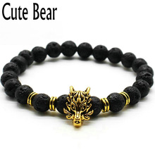 Cute Bear Brand Antique Silver Animal Wolf Head Bracelet Men Jewelry Fashion Black Frosted Volcano Lava Stone Beads Men Bracelet