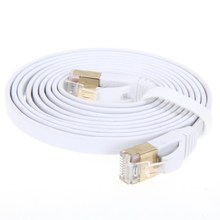 High Speed Cat7 RJ45 Network Flat Shielded Twisted Pair LAN Cable Internet Network Cable with Plated Connector