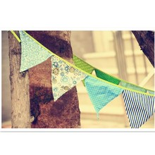 Colorful Cotton Fabric Bunting Pennant Flag Banner Garland Romantic Wedding/Baby Birthday/Home Party Photograpg props Decoration