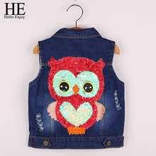 HE Hello Enjoy Kids Clothes Girls spring jackets Coat Cartoon Children Clothing Toddler Girl Vest Outerwear Autumn Owl Denim2018(China)