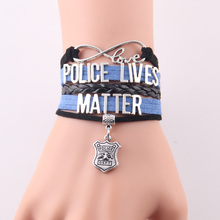 Infinity Love police lives matter bracelet heart charm leather Awareness bracelets & bangles for women men jewelry drop shipping