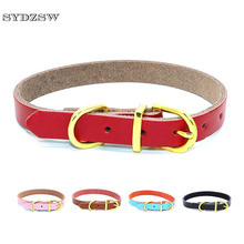 SYDZSW Real Leather Chihuahua Dog Collar Puppy Pet Collar leads for Small Dogs Cats Top Grade Golden Buckle Pet Cat Collar XS S(China)