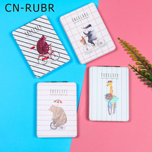CN-RUBR Cartoon Beauty Mirror Girl Rectangle Portable PU Metal Make-up Mirror Folding Pocket Compact Small Hand Mirrors for Gift