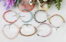 28PCS Mixed colours glass seed beaded Lucky Raffia Anklet Bracelets #21689(China)