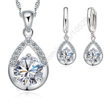 Elegant Fashion Jewelry Sets Pure 925 Sterling Silver White Gold Top Quality Earrings Necklace Set For Women Wedding Dress SET