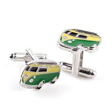 1 Pair Green Bus Shaped Cuff Links For Men Women Shirt Wedding Cufflinks Fashion Personality 2017 French Enamel Cuff Buttons