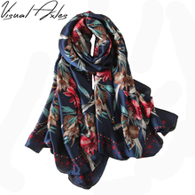 [Visual Axles] Women Luxury Brand Silk Scarf Print Designer Navy Blue Floral Natural Silk Scaves and Shawls SFN110