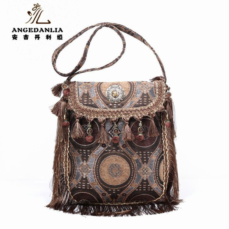 Designer fashion tassel Bag women hippie Tassel handbags fabric beading messenger Cotton Fabric Bag crossbody bag<br>
