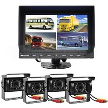DIYSECUR 9 Inch Split Quad Display Rear View Monitor + 4 x IR Night Vision Rear View Camera Monitoring System