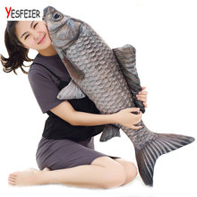 Yesfeier 30-100cm Simulation Carp Fish Plush Toy Soft Fish Shape Pillow Creative Gift for Children Home Shope Decor