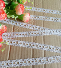 Width 16mm 25yards white Embroidered Net Lace Trim fabric Garment ribbon headband wedding party decoration DIY Accessorie #18646