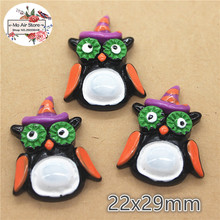 10pcs Resin halloween owl flat back Cabochon Art Supply Decoration Charm hair bow center 22x29mm(China)