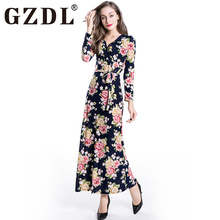 GZDL Sexy Clubwear Milk Silk Waistband Women's Dress Long Sleeve V Neck Floral Black Printed Cocktail Party Club Dresses CL3187
