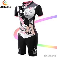 Malciklo Cartoon Mickey Mouse Women Cycling clothing Jumpsuit short V-neck Elasticity Tight Fit Road Bike Bicycle Coverall