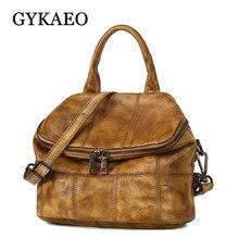 ce039d97b828 GYKAEO Vintage Genuine Leather Backpack Women Cowhide School Bags for Teenage  Girls Plaid Retro Backpacks Mochilas