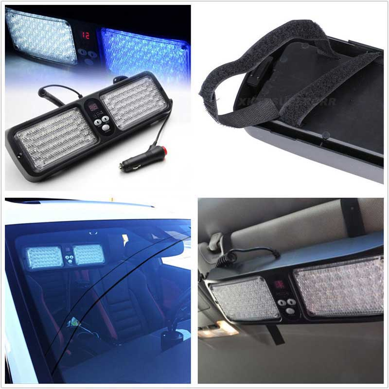 86 LED Emergency Vehicle Car Truck Super Bright Visor Strobe Lights Flash   Amber/White<br><br>Aliexpress