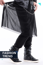 27-44 2017 New men's clothing singer costume Performing Punk Trousers male skinny pants skirt male harem pants ds costumes