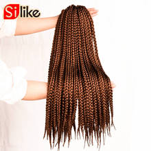 "Silike 12"" 18"" 22"" Crochet Box Braids Synthetic Hair 12 Roots Pure Colors Crochet Braiding Hair Extensions 90-100 g 1 pack/lot(China)"