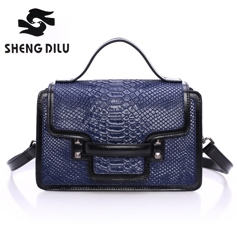 Small packets shengdilu brand new 2017 women genuine leather tote Serpentine grain shoulder Messenger bag handbag free Shipping<br>
