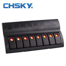 CHSKY 8 Gang 12v 24v Red Led Car Marine Boat Rocker Switch Panel Circuit Breakers Overload Protected Car Switch Panel