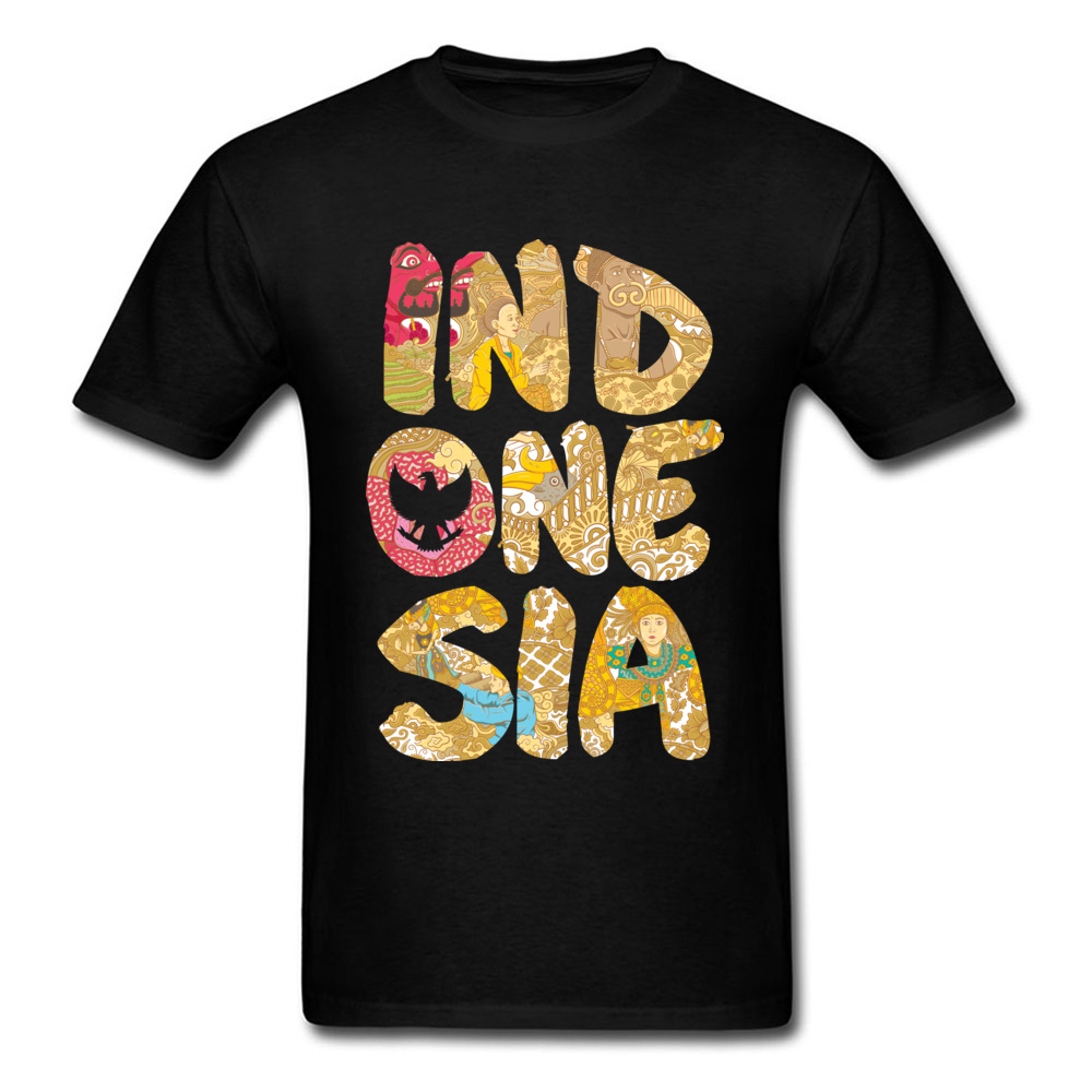 INDONESIA FONT Summer Fall All Cotton O-Neck Tops T Shirt Short Sleeve Summer Tops Shirts Prevailing Printed On T-shirts INDONESIA FONT black