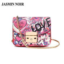 JASMIN NOIR 2017 Summer New PU leather Women Messenger bag Square graffiti Chain Crossbody Bag Shoulder Satchel Handbag Mini Bag(China)
