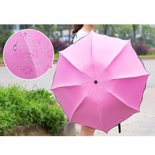4 Colors Sun / Rain Folding Umbrella For Women Change Color Umbrella Lady Princess Magic Flowers Dome Parasol OB