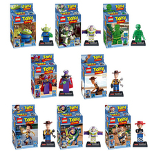 NEW hot 8pcs/set Toy Story Buzz Lightyear Woody Action Figures Building Blocks Bricks Compatible toys No box