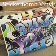 Matte / glossy Graffiti Vinyl stickerbomb Vinyl Car Wrap Film graphic decal with air release Printed Vinyl in large print(China)