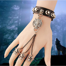 1 Pc Pinksee Unique Design Skull Slave Chain Leather Bracelet With Snap On Clasp Fashion Gothic Style Women Jewelry