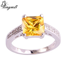 lingmei Fashion Lady Princess Cut Gold & White CZ Silver Color Ring Size 7 8 9 10 European Jewelry Free Shipping Wholesale