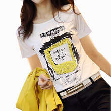 New 2017 Casual Basic summer woman printed cotton T-shirt base lady short sleeves casual shirt Perfume bottles t-shirt S~XXL