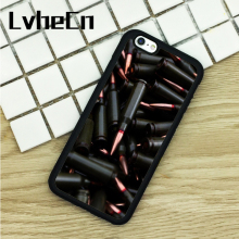 LvheCn TPU Phone Cases For iPhone 6 6S 7 8 Plus X 5 5S 5C SE 4 4S ipod touch 4 5 6 Cover Military Gun Bullets Collage Print