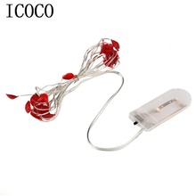Novelty 2M 20LED Button Battery Powered Heart Shape String Light Party Festival Wedding Party Decoration String Light Wholesale