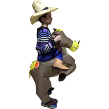 Kids Cow boy Rider Horse Brown Cowboy Horse Inflatable 6 to 9 age Kids Costume Halloween Costume For Kids christmas costumes