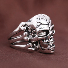 2016 High Quality steam punk exaggerated Gothic daft rave skull head ring for men and women Huge Gothic Punk Biker Motorbike