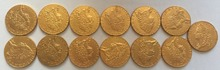24 - K gold plated <1740-1760> 13 coins United Kingdom 1 Guinea - George II coins copy Free shipping