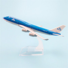 16cm Metal Aircraft Plane Model Air KLM B747 Airways Boeing 747 400 Airlines Airplane Model w Stand Gift(China)