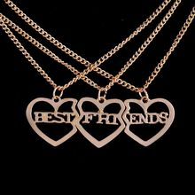 Buy Best Friends Forever Necklace Three piece Gold Color Pendant Necklaces sisters brothers Haert-shaped Fashion Jewelry Gift for $1.39 in AliExpress store