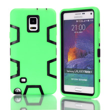 Fundas Cases For Samsung Galaxy Note 4 N9100 Armor Silicone Back Cover Couqe Cell Phone Unique Etui 3 in 1(China)