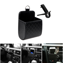 Car Organizer Air Vent Outlet Storage Box PU Leather Mobile Phone Holder Sunglasses Ticket Card Container Tidy Auto Storage Bag