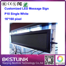 p10 led outdoor led sign single white led display screen 16*160 pixel led message sign board running text led advertising