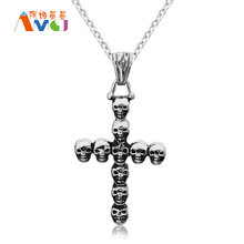 AMGJ Small Skull Heads Combination Cross Pendant Necklace Titanium Steel 3 Kind Colors Wholesale Unisex Jewelry Free Chain E043(China)