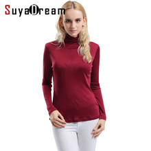 Women T shirt 100%Real Silk Basic Turtleneck long sleeve Bottoming-shirt 2017 FALL WINTER Primer shirt Plus size Spandex top(China)