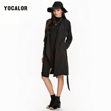 YOCALOR Temperament Long Duster Sleeves Solid Color Loose Brand Trench Coat For Windbreaker Women Overcoat Sashes British Style